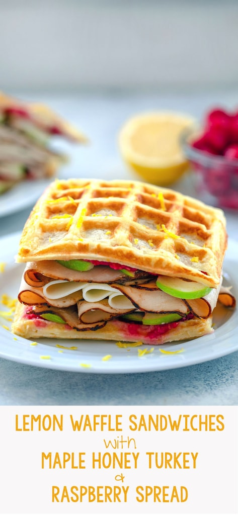 Lemon Waffle Sandwiches with Maple Honey Turkey and Raspberry Spread -- These Lemon Waffle Sandwiches are loaded with maple honey turkey, provolone cheese, and green apples, with a simple raspberry spread. They're perfect for enjoying during a late summer's picnic or any time of year | wearenotmartha.com #waffles #sandwiches #turkey #apples #raspberry