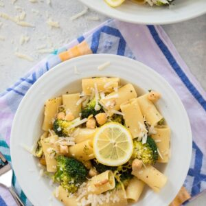 Lemon Broccoli and Chickpea Rigatoni -- This pasta dish is the perfect busy weekend or Meatless Monday recipe, but it's also stunning enough to serve as a side dish at a dinner party | wearenotmartha.com