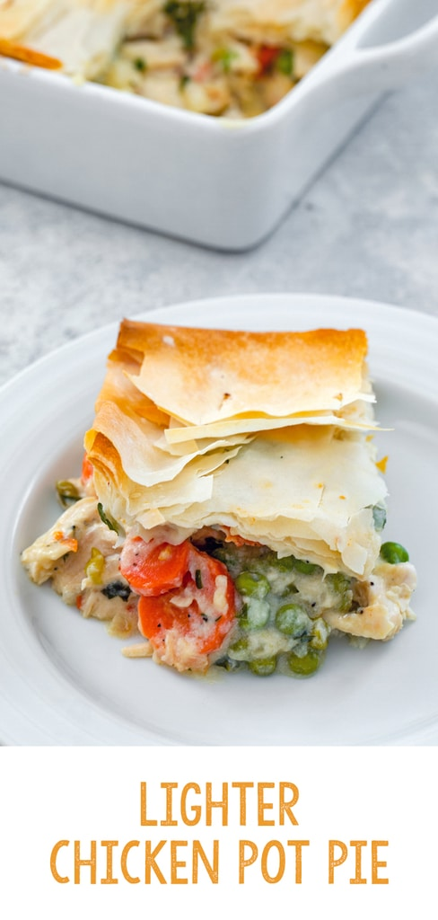 Lighter Chicken Pot Pie -- This Lighter Chicken Pot Pie is packed with all the good stuff and topped with a buttery phyllo dough crust. A little bit healthier than the original, but just as tasty! | wearenotmartha.com #chickenpotpie #healthier #lighter #dinners