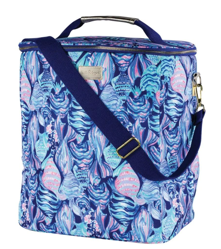 Head-on view of brightly colored Lily Pulitzer insulated wine cooler