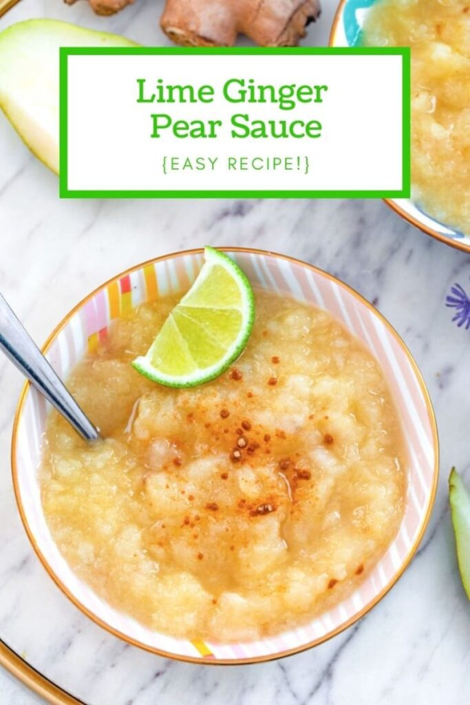 This Lime Ginger Pear Sauce puts a fun tropical twist on fall flavors... And it's so easy to make! | wearenotmartha.com #pearrecipes #fallflavors #limeginger #easyrecipes #fallsides