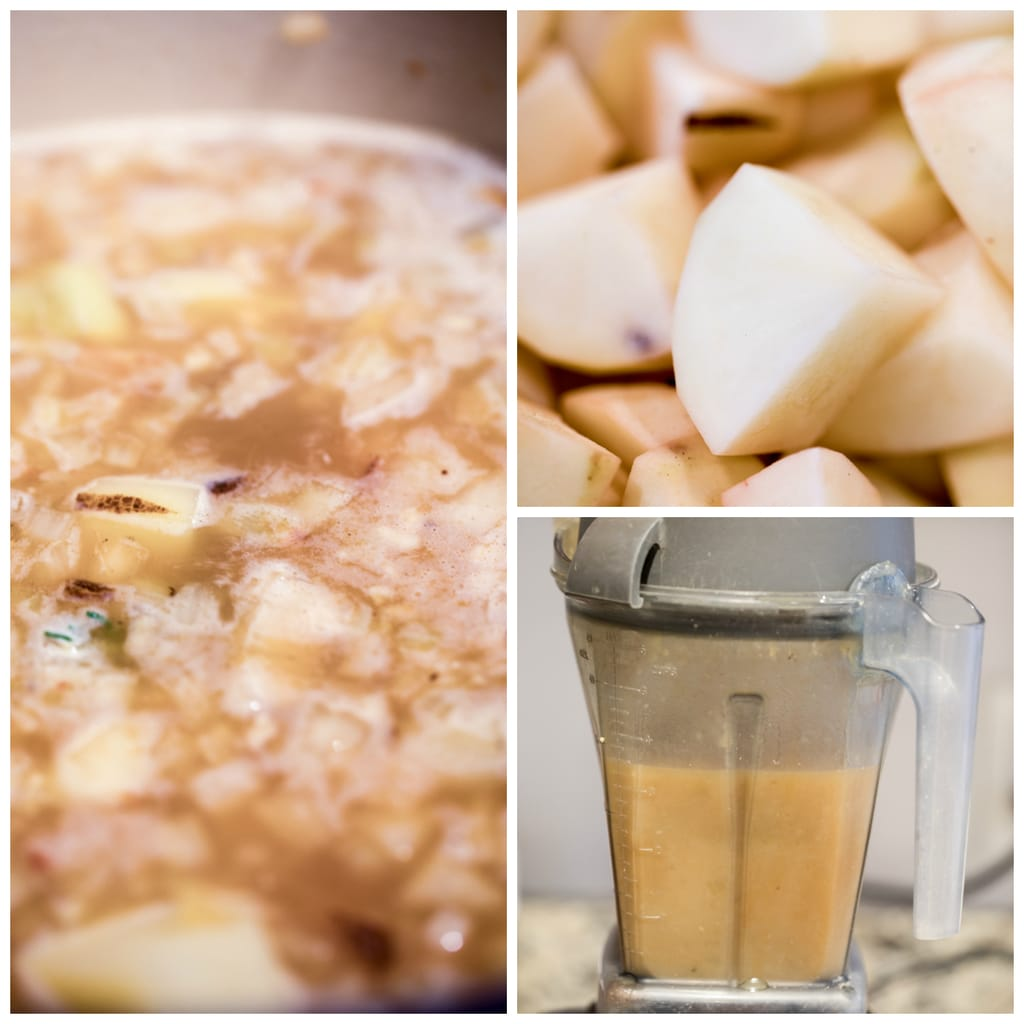 Collage showing the making of loaded baked potato soup, including potatoes chopped, potatoes and onions simmering in broth, and potato mixture being pureed in blender