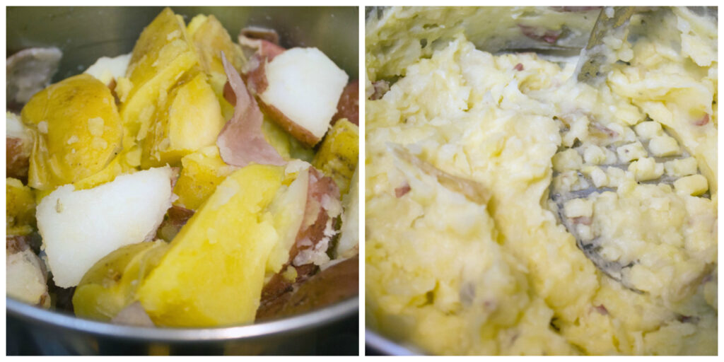 Collage showing process for making loaded mashed potatoes in jars, including pot with cooked potatoes in it and pot with potatoes mashed in it