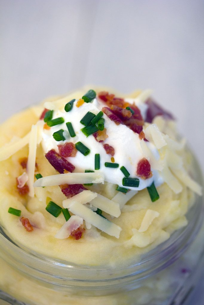Loaded Mashed Potatoes in Jars -- Single serving mashed potatoes perfect for serving at your next dinner party! | wearenotmartha.com