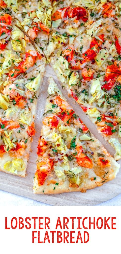 Lobster Artichoke Flatbread -- Lobster is delicious right out of the shell, but this Lobster Artichoke Flatbread will make you realize that lobster is amazing on pizza, too! | wearenotmartha.com #lobster #flatbread #pizza #artichokes