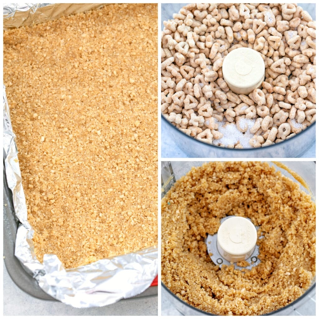 Collage showing process for making cereal crust for cookie dough bars, including Lucky Charms cereal and sugar in food processor, cereal ground up in food processor, and ground up cereal pressed into bottom of pan