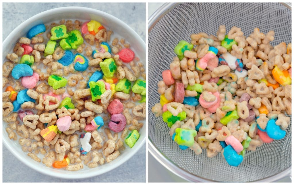 Collage showing process for making cereal-infused milk for Lucky Charms ice cream, including Lucky Charms cereal in a bowl and Lucky Charms cereal being strained out of milk
