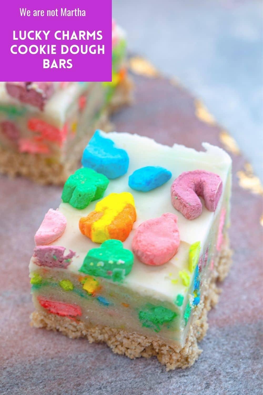 Lucky Charms Cookie Dough Bars {No-Bake}