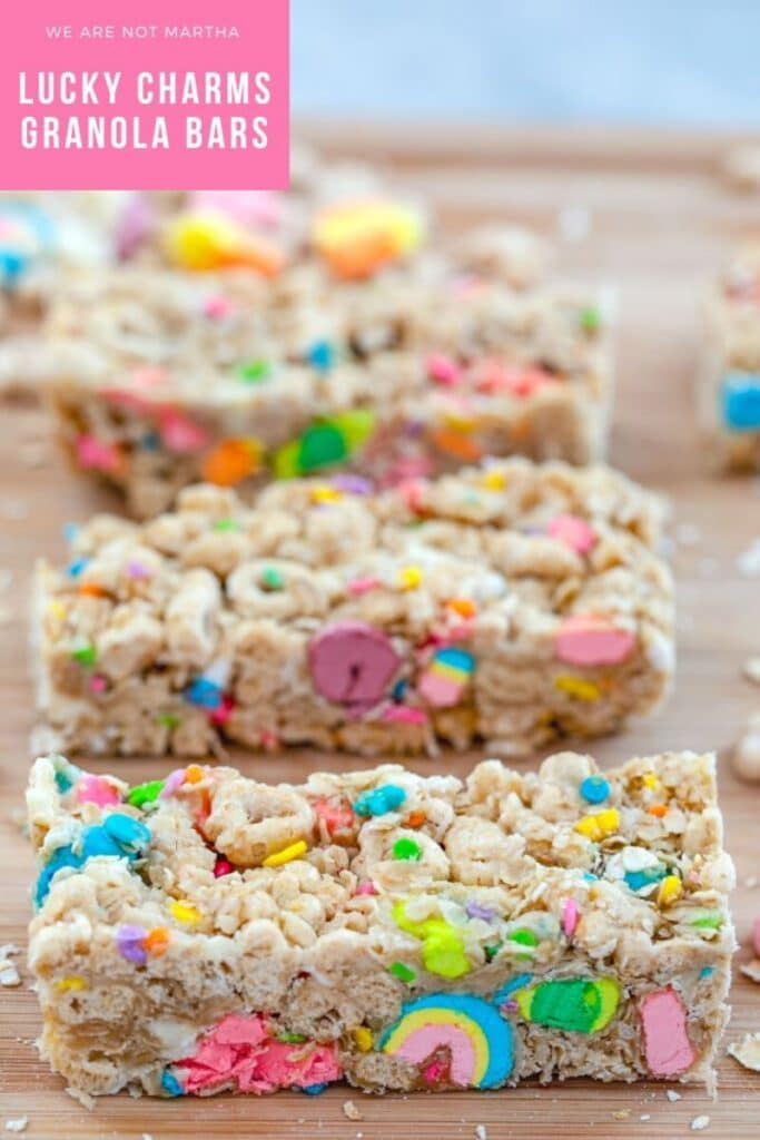 Lucky Charms Granola Bars -- Made with Lucky Charms cereal, quick cooking oats, and white chocolate chips, these no-bake  Lucky Charms Granola Bars are a fun special treat for your loved ones at St. Patrick's Day and year round! | wearenotmartha.com #luckycharms #granolabars #snacks #stpatricksday #cereal
