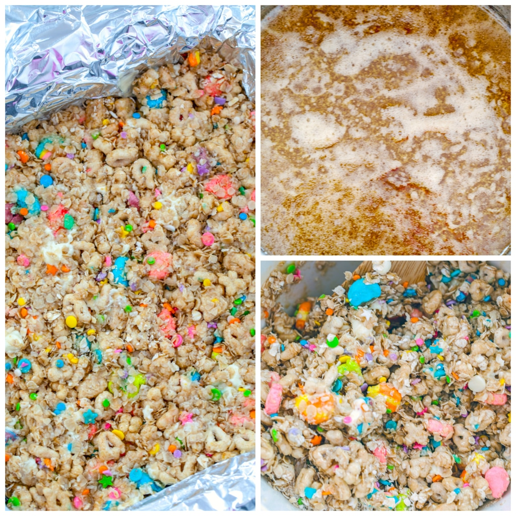 Collage showing process for making Lucky Charms granola bars, including butter and brown sugar mixture in a saucepan, dry and wet ingredients mixed together in a bowl, and Lucky Charms granola bar mixture pressed into the bottom of a foil-lined pan