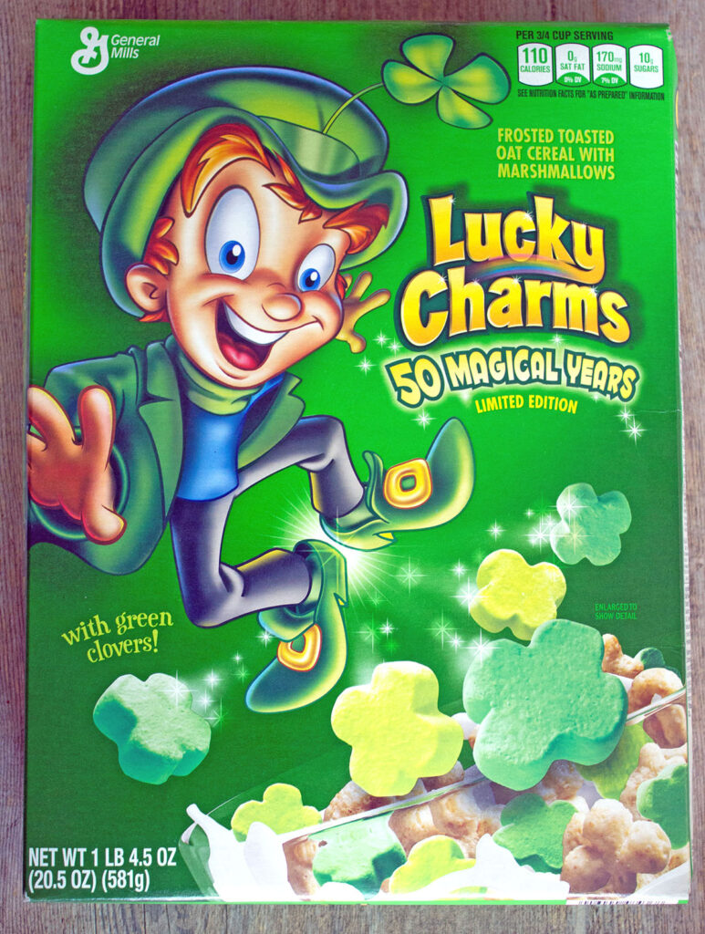 Overhead view of Lucky Charms box with all green marshmallows