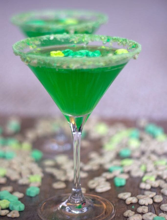 Lucky Charms Martini -- This magically easy and delicious Lucky Charms Martini is the happiest shade of green and the perfect cocktail for all of your St. Patrick's Day celebrations | wearenotmartha.com