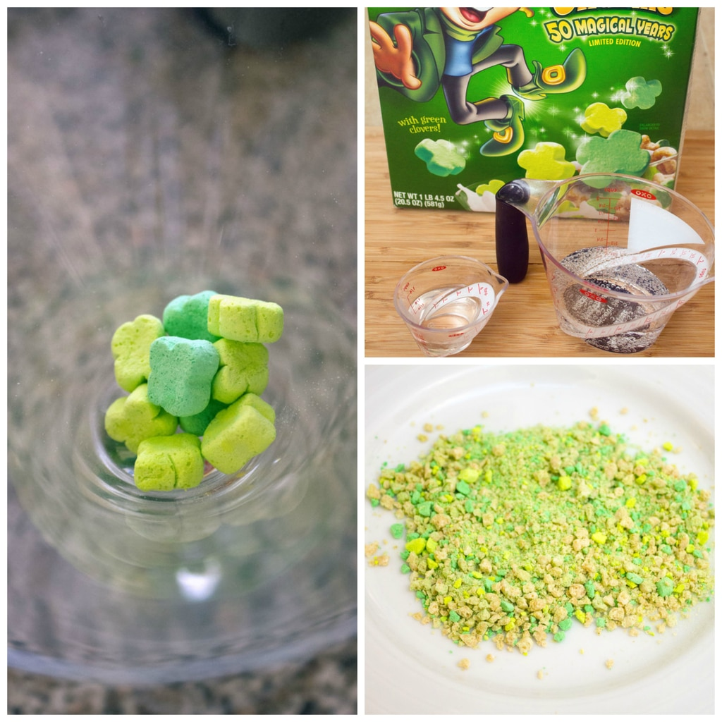 Collage showing green Lucky Charms marshmallow in a martini glass, vodka and soda water, and crushed cereal with marshmallows on a plate