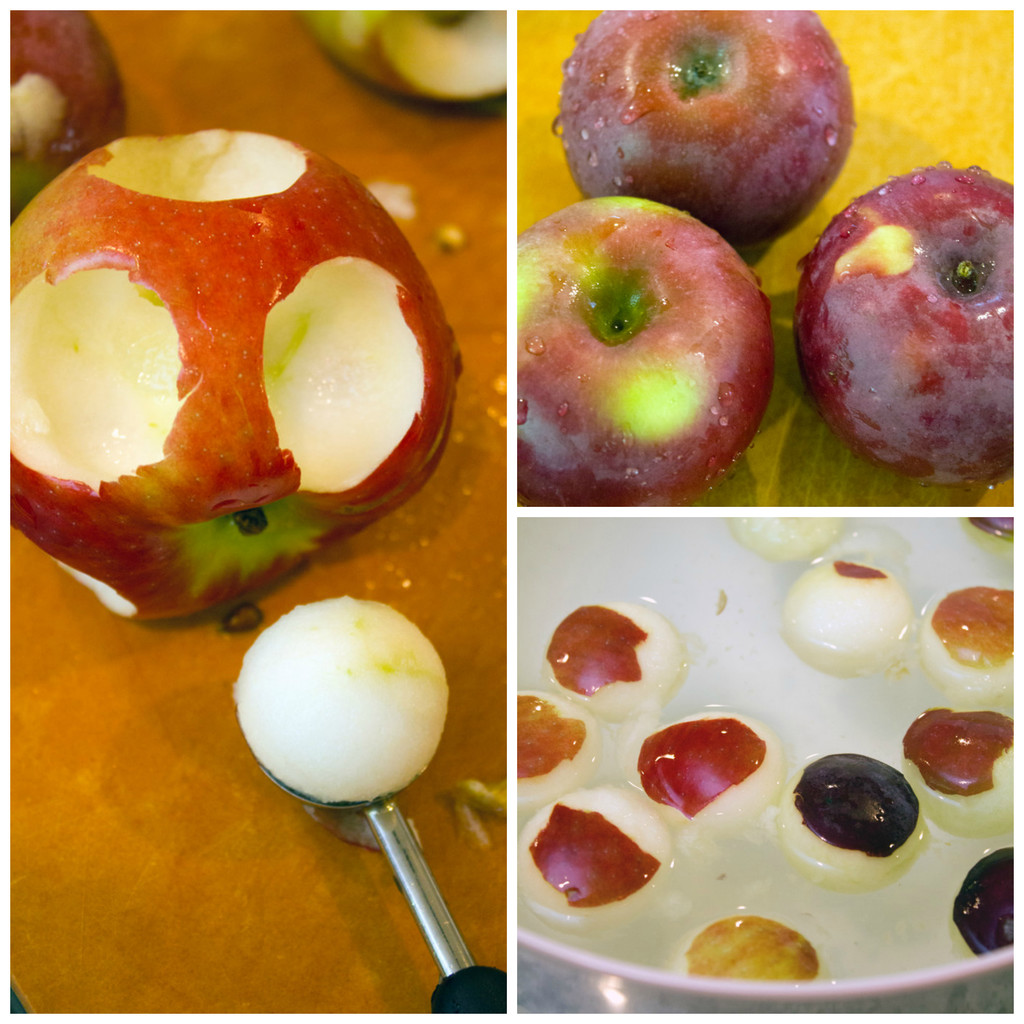 Collage showing process for making mini caramel apples, including three macintosh apples on cutting board, melon baller scooping out mini balls of apple, and apple balls sitting in bowl of salted water to prevent browning