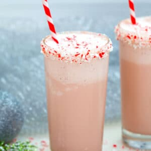 Malted Candy Cane Milkshake -- This Malted Candy Cane Milkshake will have you in the holiday spirit in not time at all and with just four ingredients, it's ridiculous easy to make | wearenotmartha.com