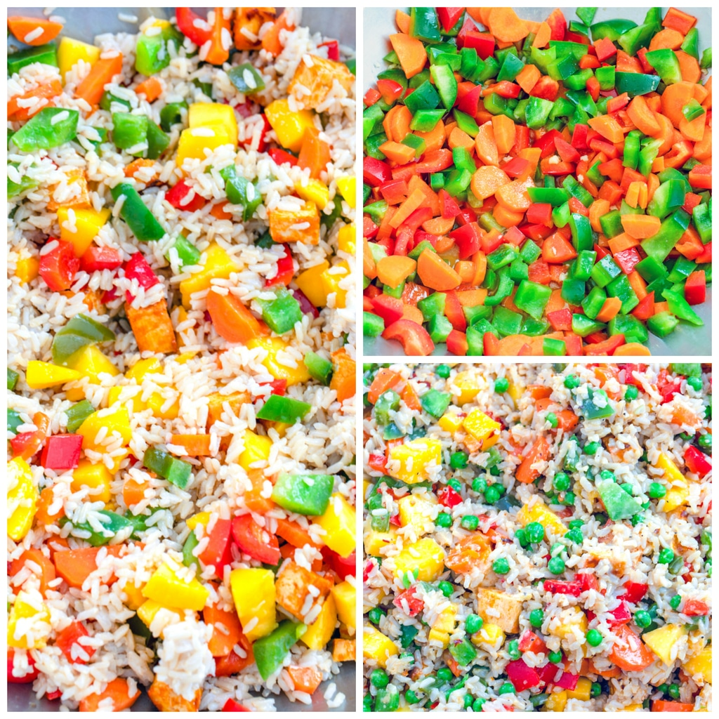 Collage showing process for making mango coconut fried rice, including red peppers, green peppers, and carrots in wok; rice and mango added to wok; and fried rice mixture all stirred together with peas added