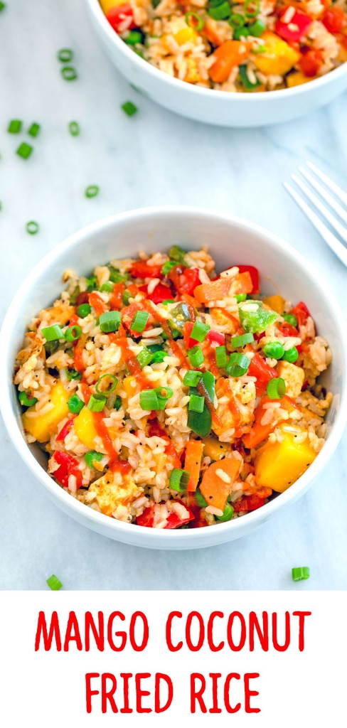 Mango Coconut Fried Rice -- This Mango Coconut Fried Rice is made with coconut brown rice and packed with colorful veggies and mango Sriracha marinated tofu | wearenotmartha.com #friedrice #mango #sriracha #dinner