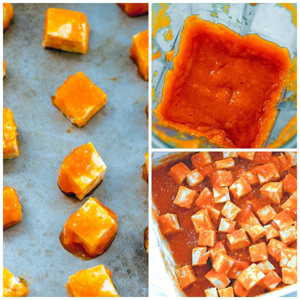 Collage showing process for making mango Sriracha marinated tofu, including marinade in blender, marinade on cubed tofu in baking dish, and marinated tofu on baking sheet