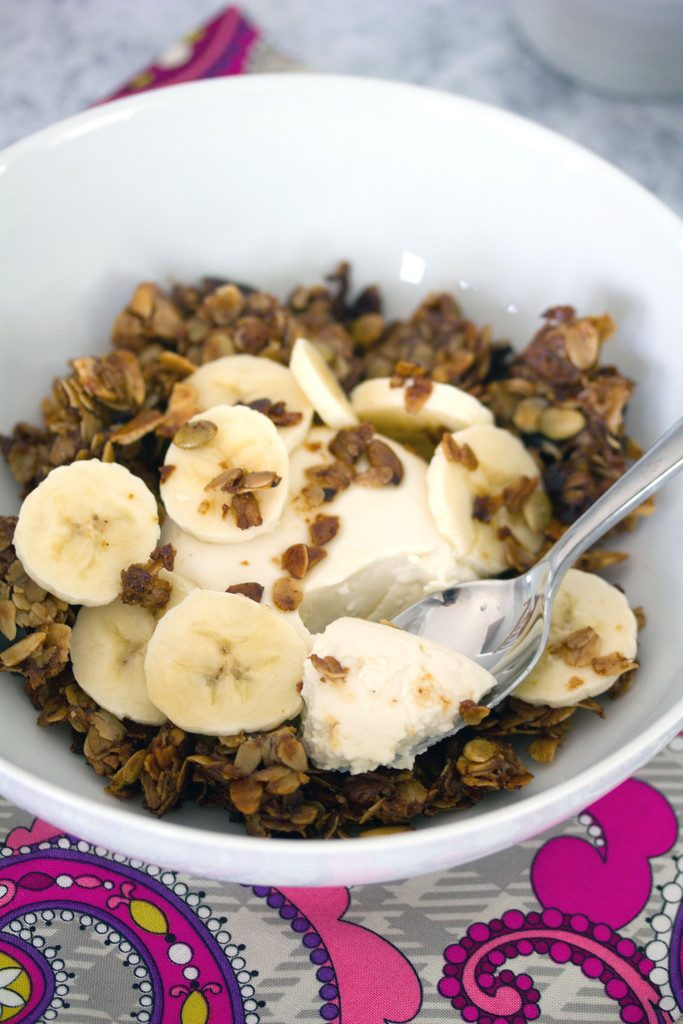 Maple Panna Cotta with Sliced Bananas and Granola -- Because why shouldn't you have panna cotta for brunch? | wearenotmartha.com