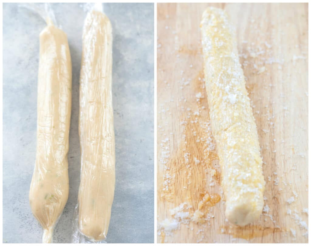 Collage showing cookie dough formed into logs and wrapped in plastic wrap and dough log rolled in coarse sugar on cutting board
