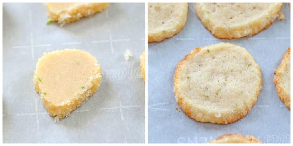 Collage showing cookies sliced and on baking sheet and cookies after being baked on baking sheet