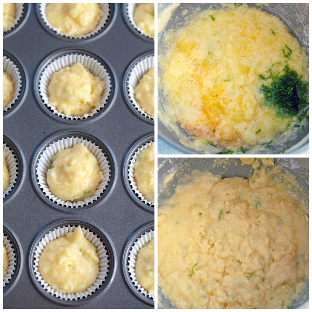 Collage showing process for making margarita cupcakes, including batter with lime zest, batter all mixed together, and batter in cupcake tin