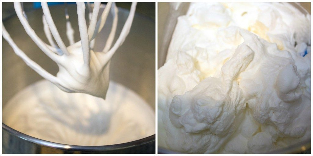 Collage showing process for making marshmallow whipped cream, including cream being beaten and marshmallow whipped cream in mixing bowl