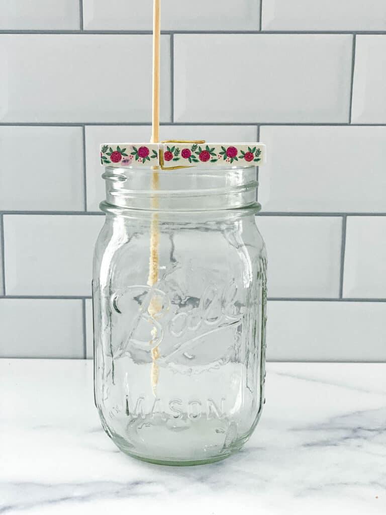 Skewer sitting in mason jar ready for rock candy sugar solution