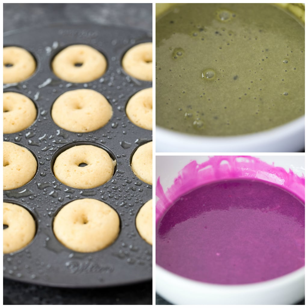Collage showing process for making mini matcha donuts, including mini donuts in pan, pink icing in bowl and green icing in bowl