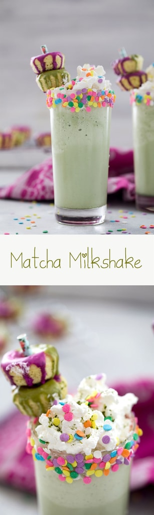 Matcha Milkshakes -- With only three ingredients, you could be enjoying a Matcha Milkshake, packed with antioxidants and creamy sweetness, in just minutes. Add whipped cream, sprinkles, and mini donuts for some extra fun | wearenotmartha.com