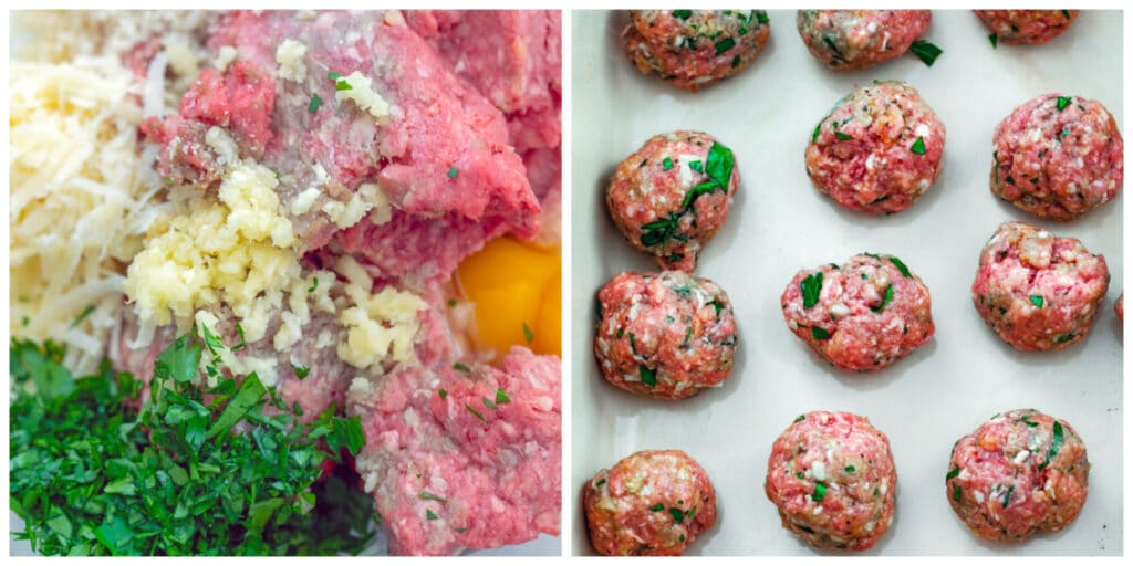 Collage showing process for making meatballs, including all meatball ingredients in a bowl and meatballs rolled out in a dish