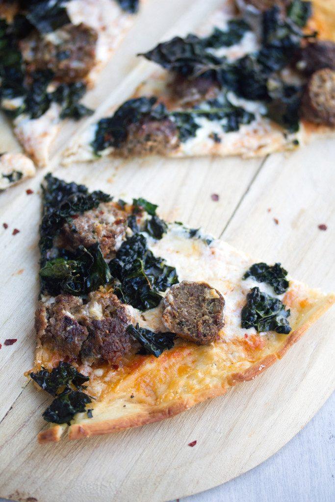 Meatball Pizza with Parmesan Peppercorn Crust -- Meatballs and kale make this flatbread a dreamy dinner | wearenotmartha.com