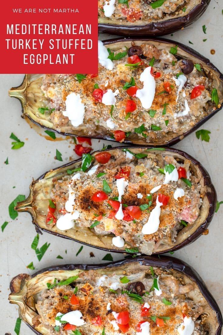 Mediterranean Turkey Stuffed Eggplant