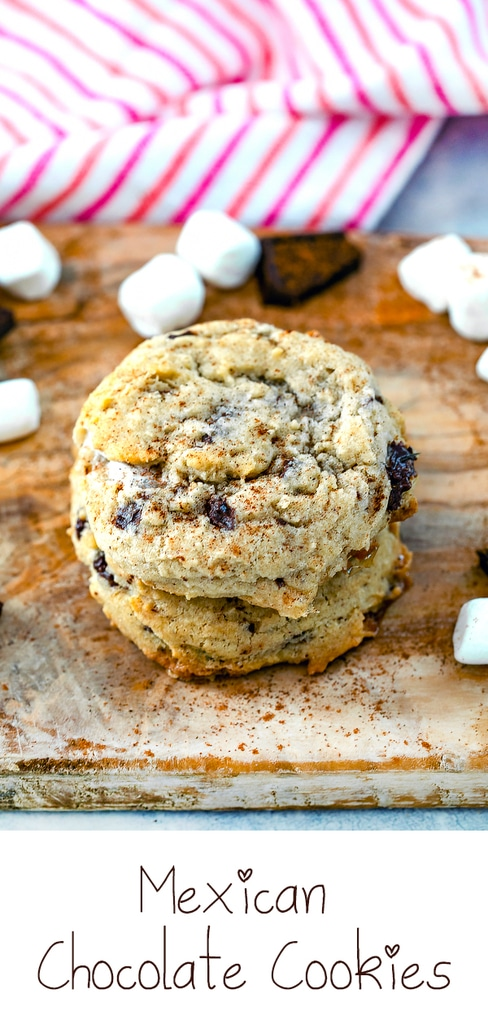 Mexican Chocolate Cookies -- These Mexican Chocolate Cookies are delicious cinnamon cookies packed with dark chocolate chunks and mini marshmallows. Totally addictive and perfect for summer campfires! | wearenotmartha.com #cookies #cinnamon #mexicanchocolate #desserts #marshmallows