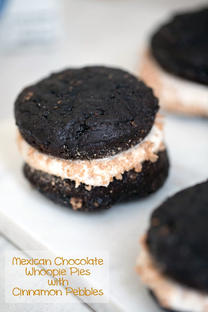Mexican Chocolate Whoopie Pies with Cinnamon Pebbles -- Whoopie Pies with chocolate, cinnamon, cereal, and marshmallow buttercream | wearenotmartha.com