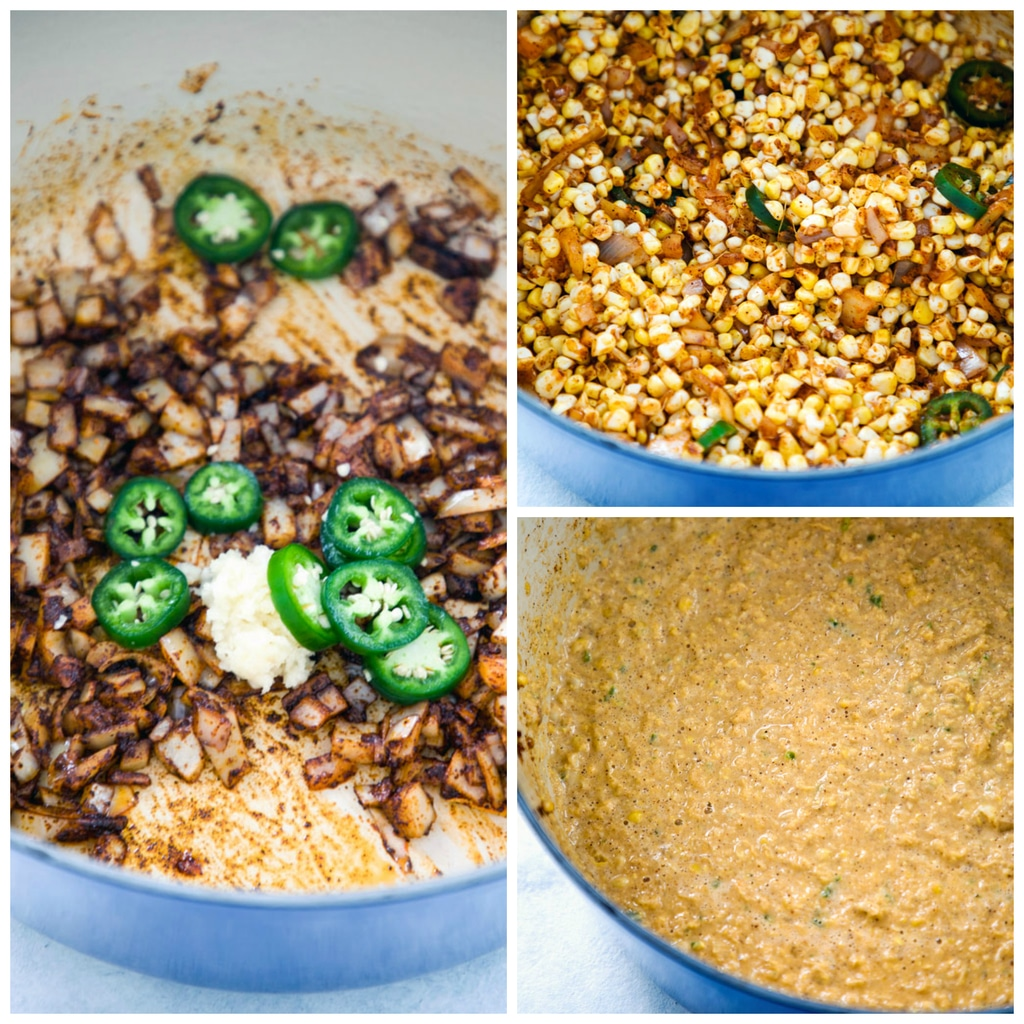 Collage of chilled Mexican corn bisque being made, including photo of onions, spices, garlic, and jalapeño slices in dutch oven, photo of onions, garlic, spices, and jalapeño mixed with corn kernels, and photo of all ingredients pureed in dutch oven