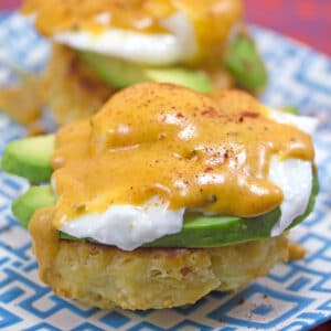 Mexican Eggs Benedict -- With homemade chorizo biscuits, avocado, and chipotle hollandaise sauce, this Mexican Eggs Benedict will quickly become your new favorite brunch recipe! | wearenotmartha.com