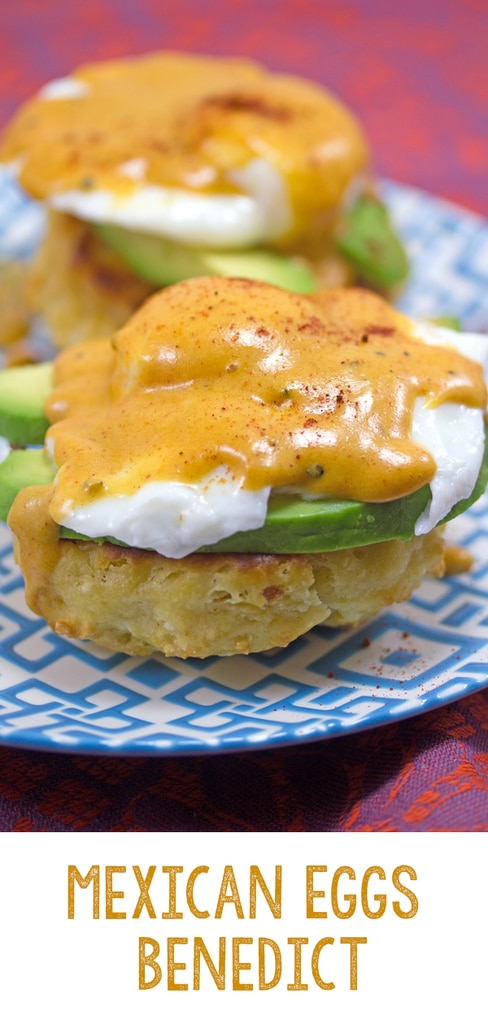 Mexican Eggs Benedict -- With homemade chorizo biscuits, avocado, and chipotle hollandaise sauce, this Mexican Eggs Benedict will quickly become your new favorite brunch recipe! | wearenotmartha.com #eggsbenedict #mexican #chipotle #avocado #poachedeggs