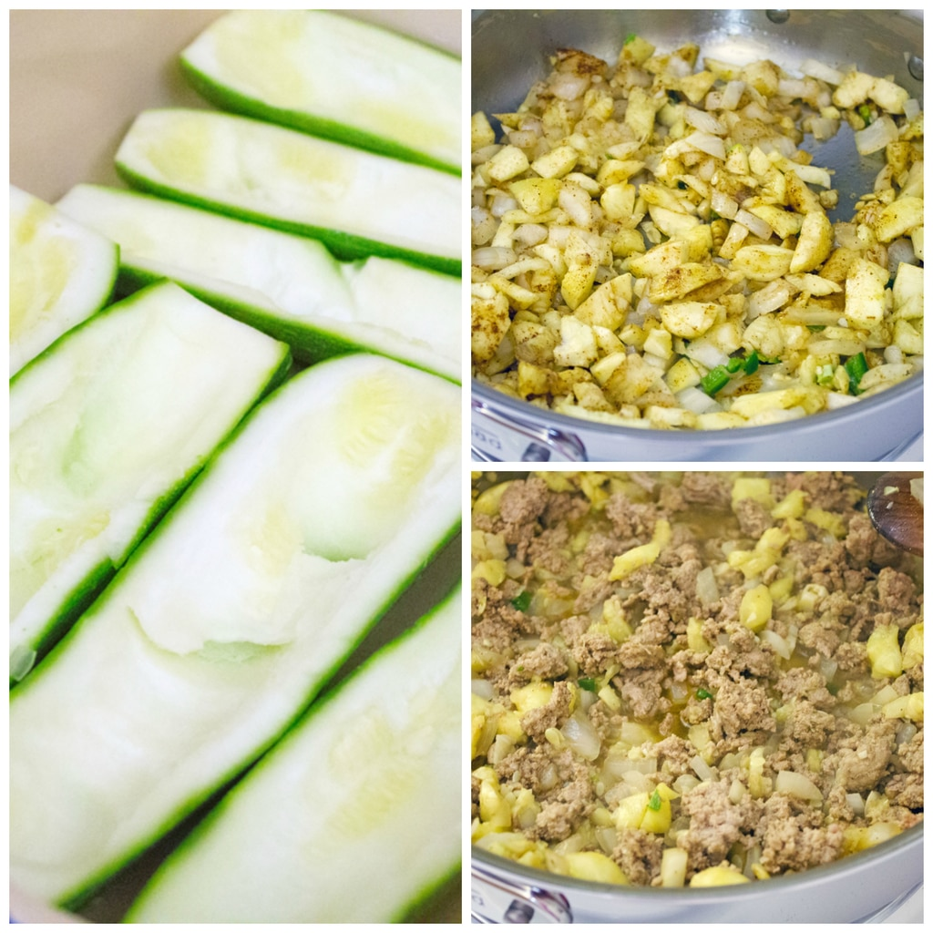Collage showing process for making Mexican zucchini boats, including hollowed out zucchinis in a baking dish; onions, chopped zucchini, garlic, and spices in a sauté dish; and turkey added into the sauté dish