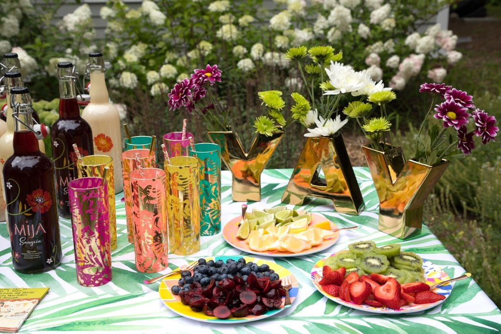 DIY Sangria Bar -- Use Mija Sangria, fresh fruit, and some fun accessories for your own fun summer sangria bar! | wearenotmartha.com