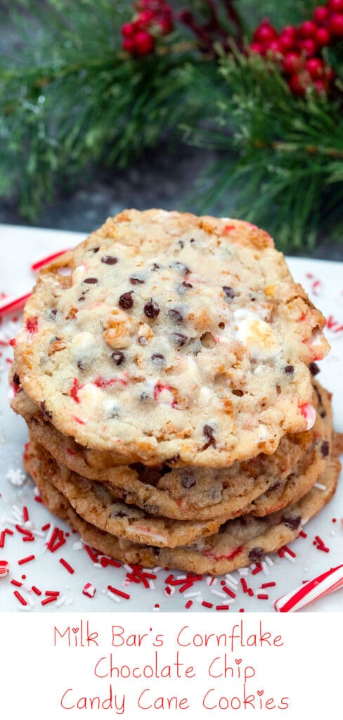 Milk Bar's Cornflake Chocolate Chip Candy Cane Cookies -- Love Milk Bar's cornflake cookies? These ones have a special twist for the holiday season! Cornflake Chocolate Chip Candy Cane Cookies are packed with lots of peppermint flavor and make the perfect addition to your Christmas cookie platter | wearenotmartha.com #cookies #christmascookies #candycanes #milkbar #holidays