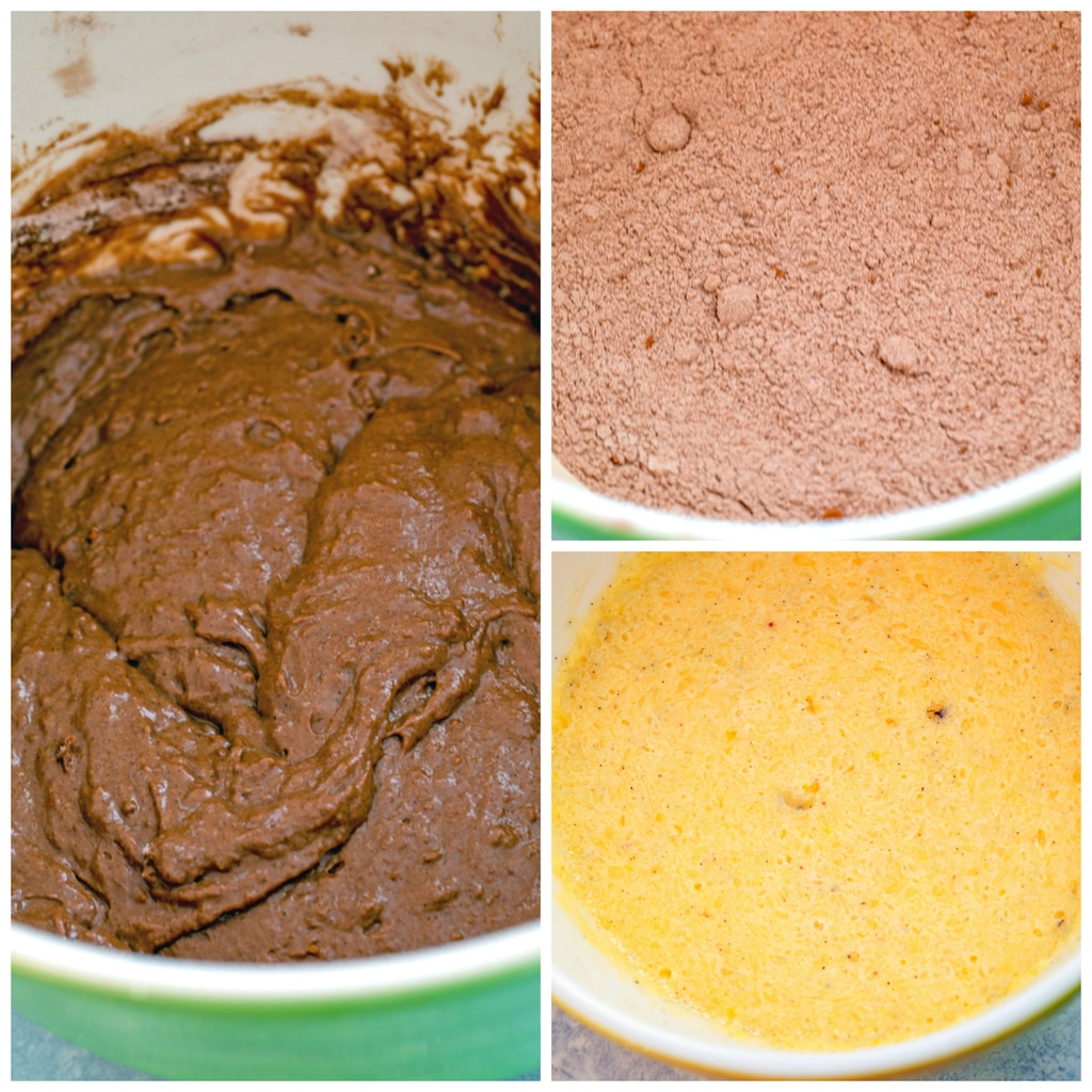 Collage showing how to make baked chocolate doughnuts for Milky Way doughnuts recipe, including dry ingredients in mixing bowl, wet ingredients in mixing bowl, and batter all combined in mixing bowl