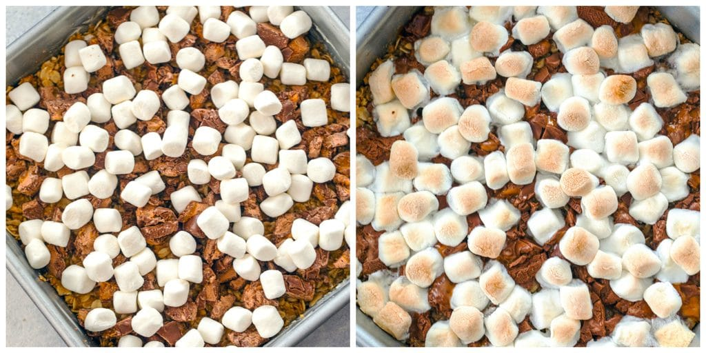 Collage showing process for making Milky Way s'mores granola bars, including pan with crust topped with mini marshmallows and chopped Milky Way bars and pan just out of the oven with marshmallows toasted