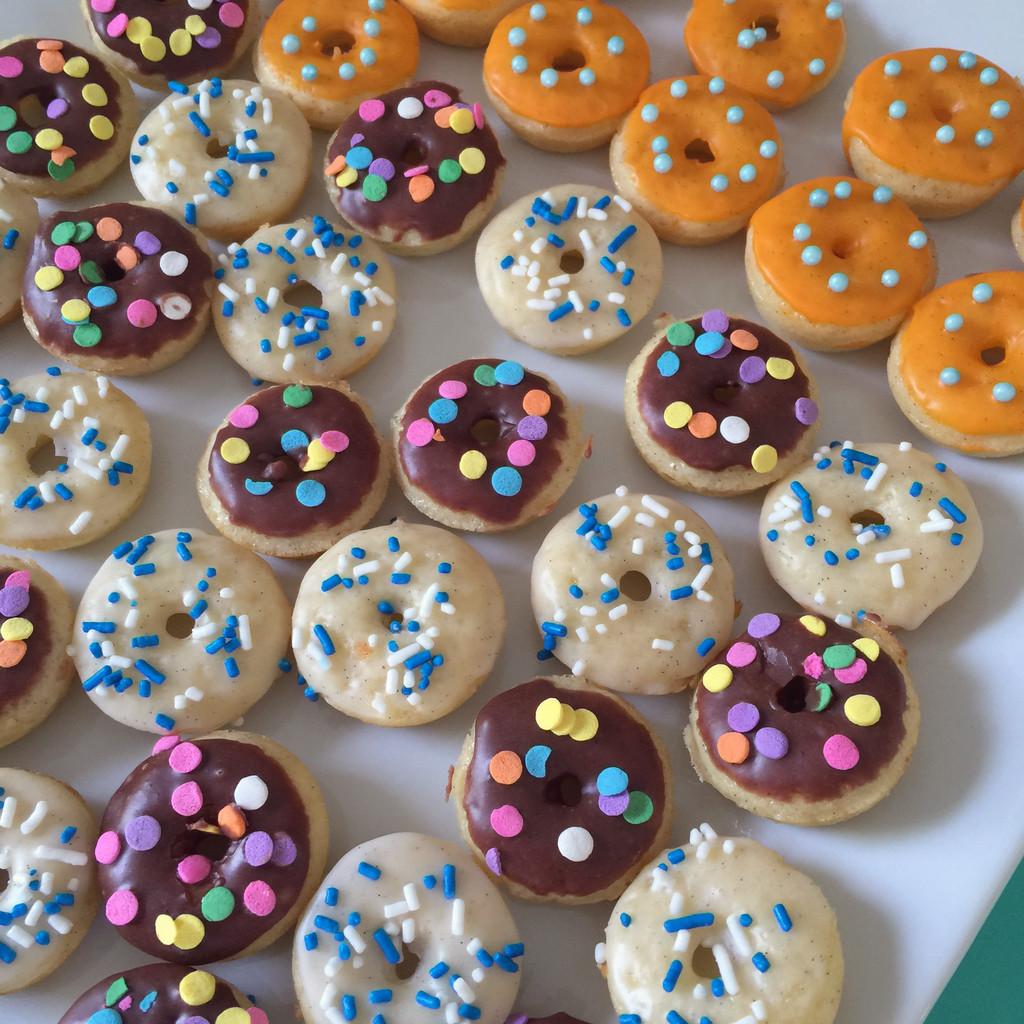 Mini Birthday Doughnuts | wearenotmartha.com