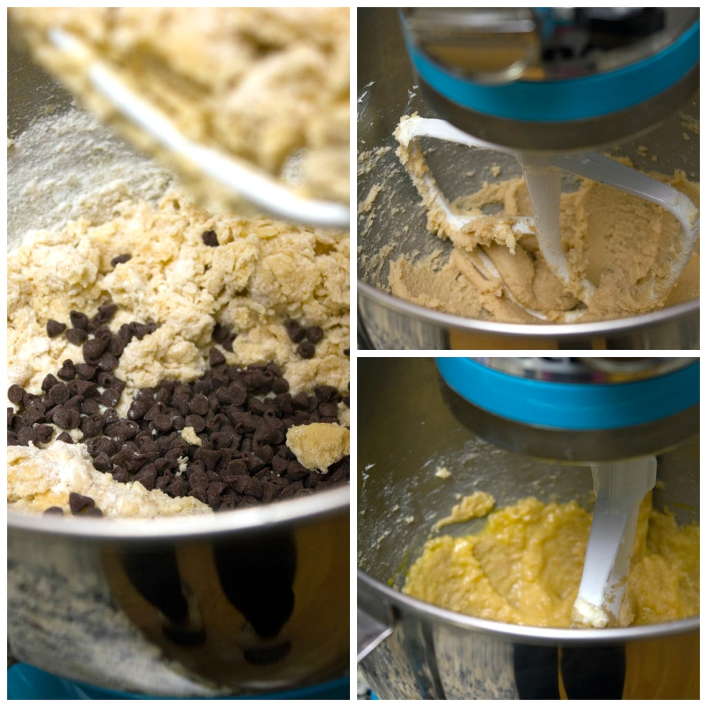 Collage showing process for making mini chocolate chip cookies, including butter and sugars creamed together, mixture with egg and vanilla added, and completed batter with mini chocolate chips added in