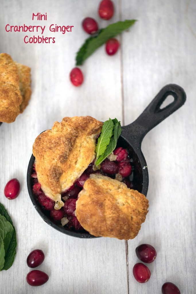 Mini Cranberry Ginger Cobblers -- These cranberry cobblers made in mini skillets are the perfect personal-sized dessert | wearenotmartha.com