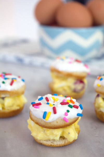 Mini Egg Salad Doughnut Sandwiches -- The perfect cocktail party appetizer or dessert! | wearenotmartha.com
