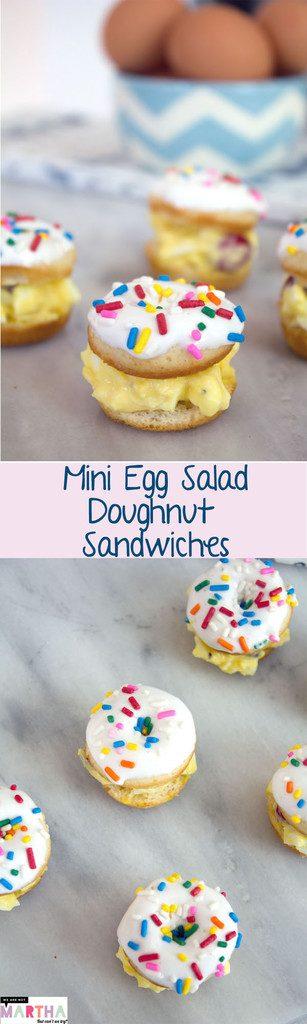 Mini Egg Salad Doughnut Sandwiches -- The perfect cocktail party appetizer or dessert! | wearenotmartha.com