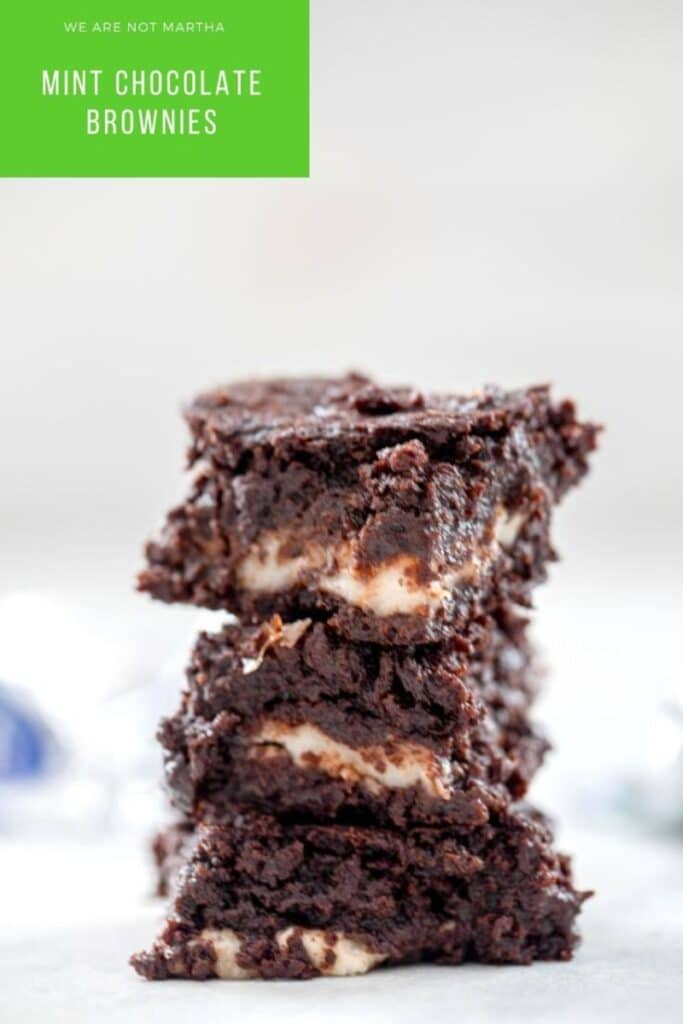 These Mint Chocolate Brownies are loaded with chocolate and peppermint patties and are way better than the average brownie! | wearenotmartha.com #brownies #mintchocolate #homemadebrownies #chocolatedesserts
