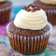 Chocolate Mint Chocolate Chip Cupcakes -- This recipe for Chocolate Mint Chocolate Chip Cupcakes is the only chocolate cupcake recipe you'll ever need! They're chocolatey and moist and even better when topped with Baileys frosting | wearenotmartha.com
